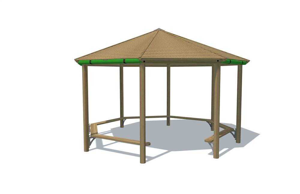 Octagonal Shelter with Timber Roof and 7x Detachable Roll Down